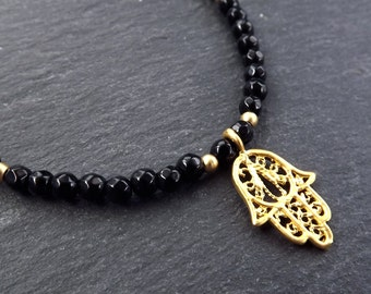 Hamsa Hand of Fatima Layer Necklace Black Onyx Stone Gemstone Hippie Bohemian Artisan