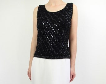 VINTAGE Sequin Tank Top Black