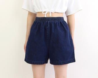 Denim Shorts Dark Blue High Waist Elastic