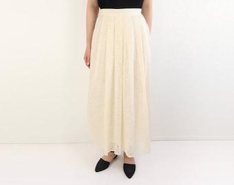 VINTAGE Ivory Skirt Long Floral Cream