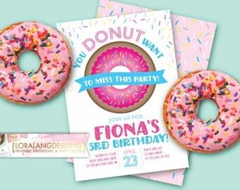 Donut Invitation, Donut Birthday Invitation, Doughnut Invitation, Doughnut Birthday Invitation, Sprinkle Invitation, Donuts & Pajamas Invite