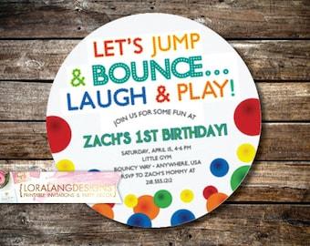 DIY Printable ROUND Bouncy Ball Birthday Party Invitation