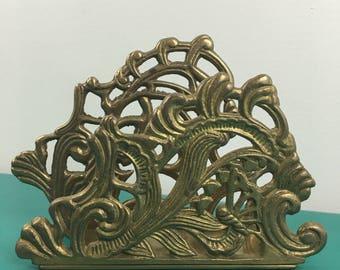 Vintage ornate brass napkin holder