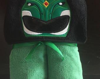 Green Power Ranger Hooded Towel - Power Ranger Christmas Gift - Power Ranger Birthday Gift - Personalized Power Ranger gift