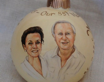 Wedding & Anniversary Portrait Ornament - Custom Portrait Painting on 4 inch Glass Ornament - Christmas ornament