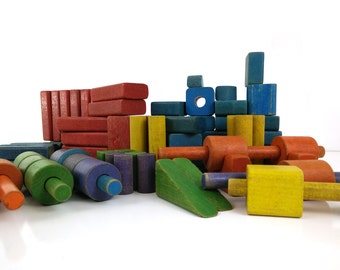 Vintage Wooden Toy Building Blocks, Set of 89