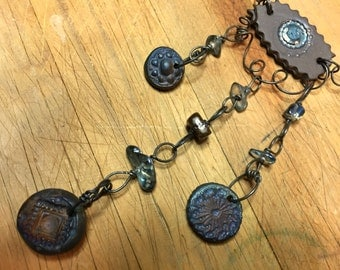 """Ethereal necklace with unique silhouette, organic hand formed chain, blue Quartz nuggets, Ruku medallions - """"Earthshine"""" by PyxeeStyx, SRAJD"""