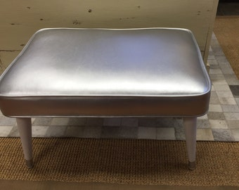 Restyled Silver Colored Faux Leather 1970s Bench Ottoman