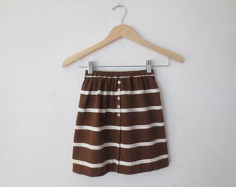 Vintage '60s Brown & White Striped Jersey Knit Mini Skirt, Ladybug Label, Juniors/Women's XS