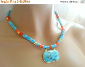 25% Off Spring Sale Turquoise Pendant on Turquoise and Coral Heshi Beaded Necklace with Gold Accent Spacers