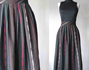 Vintage 80's long wool skirt DIANE VON FURSTENBERG vertical striped - L