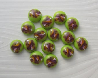Fused Glass Beads - Fused Glass - Small Beads - Jewelry Findings - Lampwork Beads - Cabochon - Cab - Green Beads 2625