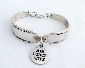 Air force wife, military jewelry, spoon bracelet, Caprice 1937 silverware, gifts for her