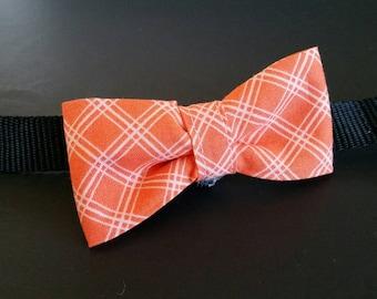 Orange and white gingham check bowtie, dog bowtie, over collar bowtie, slip on bowtie