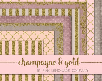 Champagne and Gold 8 digital paper pack. Commercial Use okay. Scrapbook invitations supplies card making wedding website graphics clip art