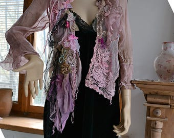 Beautiful Unique Art To Wear Silk Chiffon Transparent  Jacket DUSTY PINK Fairy Boho Tattered Flowers Forest Gipsy