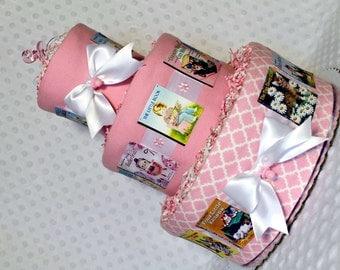 Baby Diaper Cake Books Shower Girls Pink Gift Centerpiece