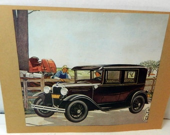 vintage print men and old car advertising ephemera collectible altered art