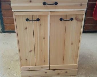 Wooden Double tilt out trash bin cabinet, Coffee bar, kitchen island,  recycle and trash bin , microwave cabinet