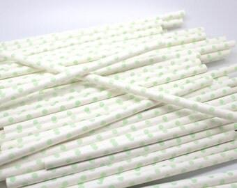 BULK SALE Sea foam Swiss Dot Straws - Qty 115 - Paper Party Straws - Wedding - Baby Shower - Corporate party - Mint