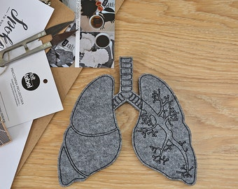 Felt lungs, grey felt lung, lungs, anatomical