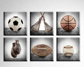 FLASH SALE til MIDNIGHT Vintage Square Sports Collection Set of Six Canvases  Ready to Hang, Vintage Sports Nursery, Rustic Sports Decor