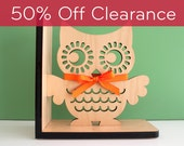 SALE! CLEARANCE 50% OFF! Owl Bookend: Wood Modern Baby Nursery Children