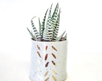 planter Terrarium garden home decor Handmade ceramic planter garden in grey and gold succulent pot