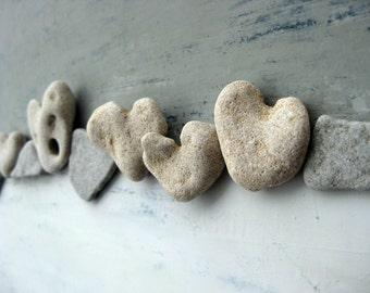 Beach House Art, Unique Wall Art, Heart rocks, Pebble Art, Nature Inspired Art, OOAK, Unique Gift, heart shaped beach stones, Beach house