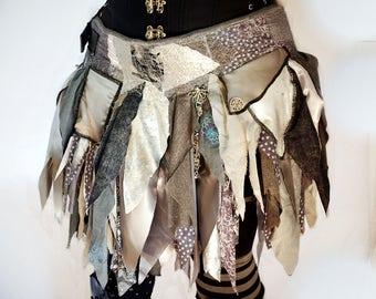 Silver Tattered Skirt, Fairy Skirt, Goth Skirt, Festival Skirt, Upcycled Skirt, Burning Man Clothing, Costume Skirt, Bohemian Skirt