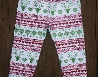 Christmas Red GreenLeggings  Deer Heart  Leggings    Girls Leggings  Red Green  Knit Leggings