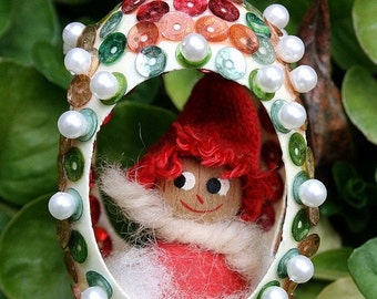 On SALE Vintage Chicken Egg Shell Christmas Diorama with Faux Pearls and Sequins Scence Fabergé Style - Red Hat Boy In Gazebo