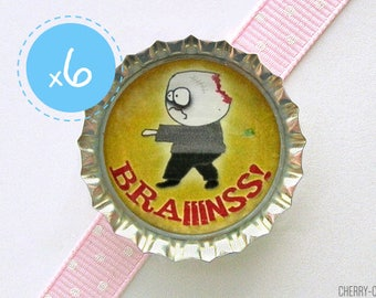 Zombie Magnet Favors, 6 Bottle Cap Magnets, zombie gifts, zombie decor, zombie party favors, zombie favors, zombie baby shower, theme party