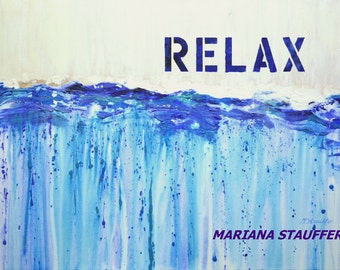 "ABSTRACT painting on canvas original textured acrylic mixed media  relax blue white cream 24x36"" by artist Mariana Stauffer"