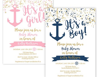 Nautical Baby Shower Invitation Navy Gold or Pink Gold- Anchor Baby Shower- Printable or Printed- Modern Nautical Baby Shower Theme