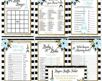 Paris Theme Baby Shower Game Bundle-Baby Boy Shower Activity in Blue, Black and Gold- Eiffel Tower, French Theme, Digital File or Printed