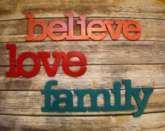 LOVE FAMILY BELIEVE hand painted decor