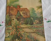 ENGLISH TUDOR COTTAGE Litho Print Cozy Thatched Anne Hathaway Home, Blooming Roses Flowers Stone Paths, Nostalgic English 6 x 8 to Frame