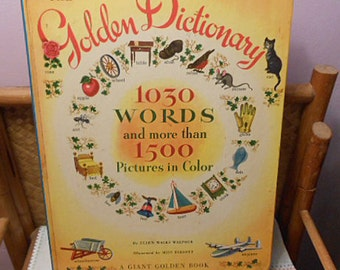 Children's GIANT GOLDEN DICTIONARY Book for Learning to Read Kids, Illustrated Alphabet Large Format 1030 Words 1500+ Color Pictures 1971 Hc