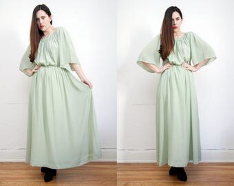 Vintage Cape Mint Green Bohemian Drape Grecian Cape Kimono Kaftan Sleeve Maxi Dress