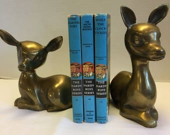 Vintage Brass Baby Deer Bookends Fawn Large Figurines Fawn