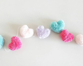 Pink, Hot Pink, Lavender, and Aqua Heart Yarn Pom Pom Garland | Heart Pompom Bunting | Heart Bunting | Photo Props | Valentine's Day Garland