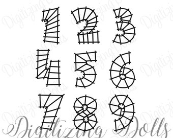 Train Track Number Set Machine Embroidery Design Numbers 0-9  Digital Files 4x4 5x7 INSTANT DOWNLOAD