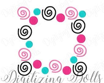 Swirls and Polka Dot Frame Machine Embroidery Design 4x4 5x5 6x6 Alphabet name mono monogram INSTANT DOWNLOAD