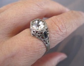 RESERVED FOR RHONDA:  Vintage Sterling Art Nouveau Filigree Hexagon Ring