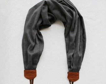 scarf camera strap woven charcoal - BCSCS086