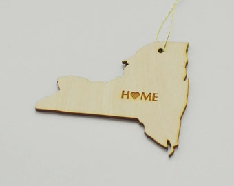 Natural Wood HOME New York State Ornament