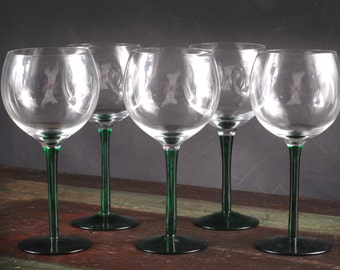 Green Stem Wine Glasses