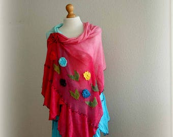 LINEN Shawl  Pink Azure Delicate Summer  Knitted Leather Brooch Application Holiday Art Eco Friendly Wrap Shawl Women Shawl Natural Organic