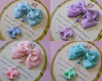 Small Fairy kei Hair bow with rocking horse and beads hair clip or brooch